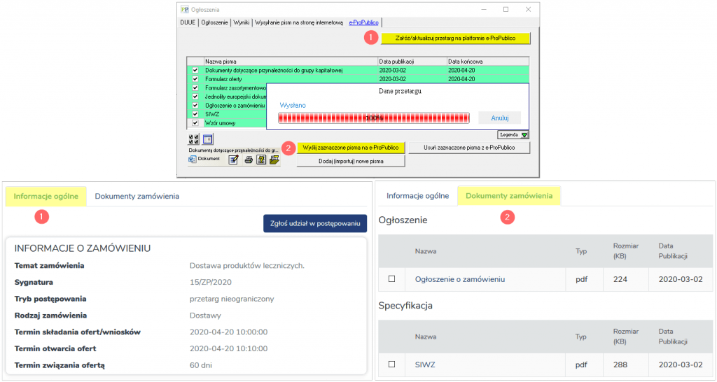 Funkcje użytkowe Platforma e ProPublico 2